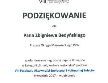 Podziękowania dla Prezesa Zarządu Okręgu Mazowieckiego
